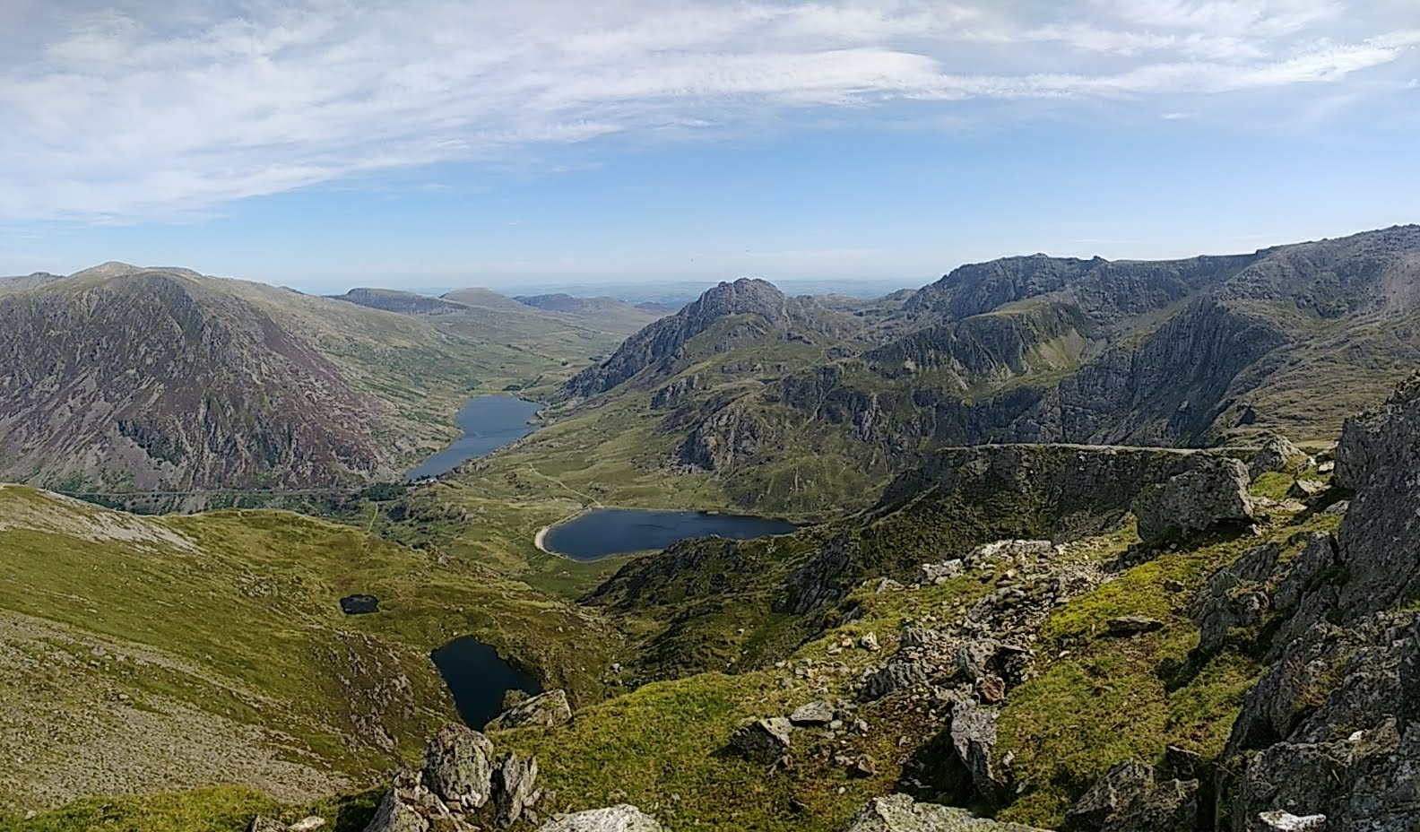 The Glyderau and Tryfan on the right and the Carneddau on the left