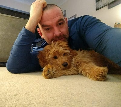 Daniel Woodley and Dougie the Labradoodle
