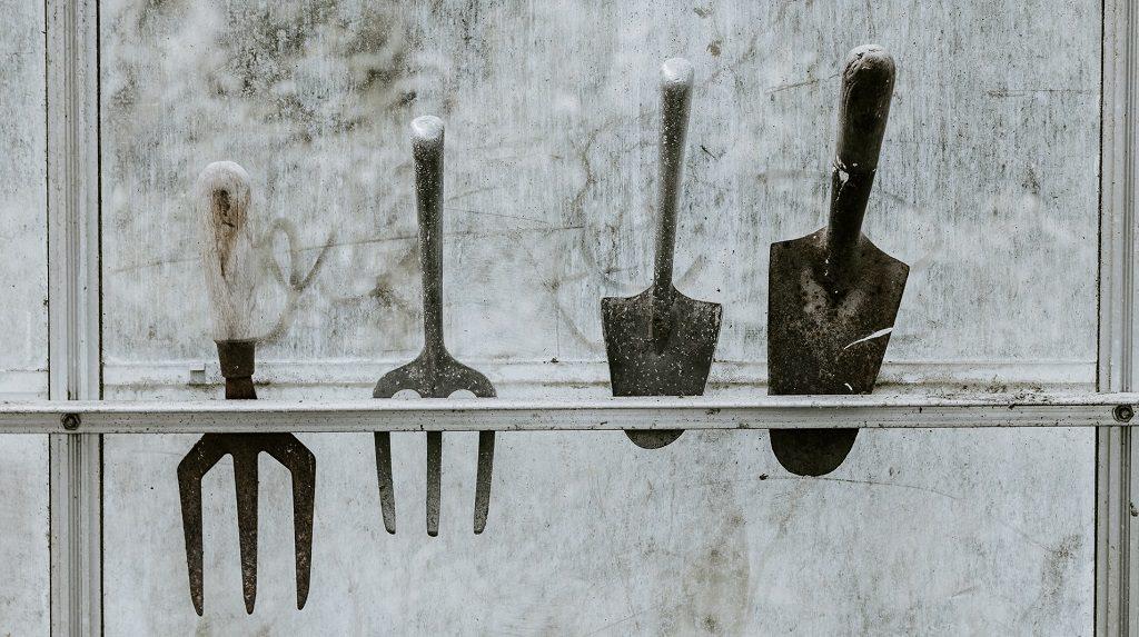 Garden tools on rack