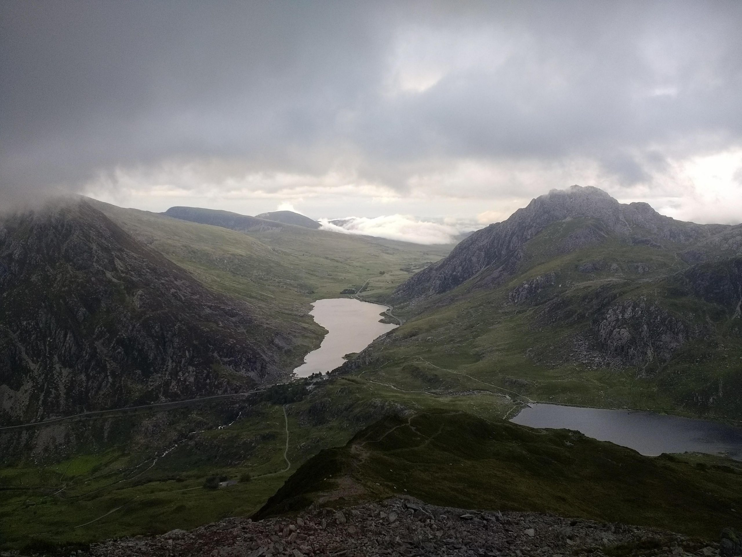 The Glyderau Range to the right with the Carneddau to the left