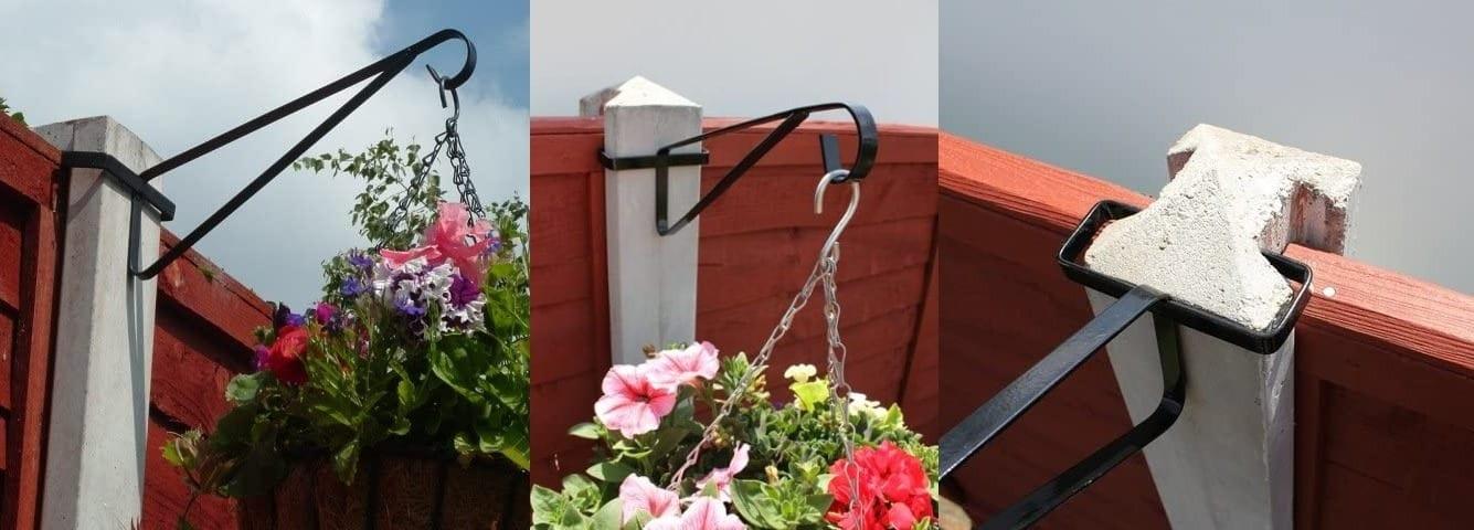 Hanging basket brackets for concrete fence posts